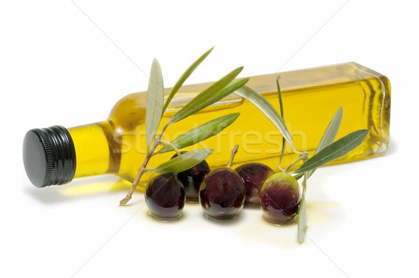 Foto stock: Garrafa · azeite · fresco · azeitonas · branco · comida