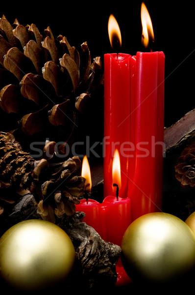 Noël rouge bougies noir fond Photo stock © luiscar