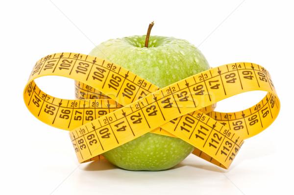 Foto stock: Manzana · dieta · blanco · alimentos · fondo · medida