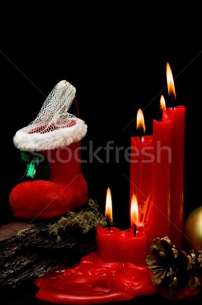 Stok fotoğraf: Noel · kırmızı · mumlar · siyah · arka · plan