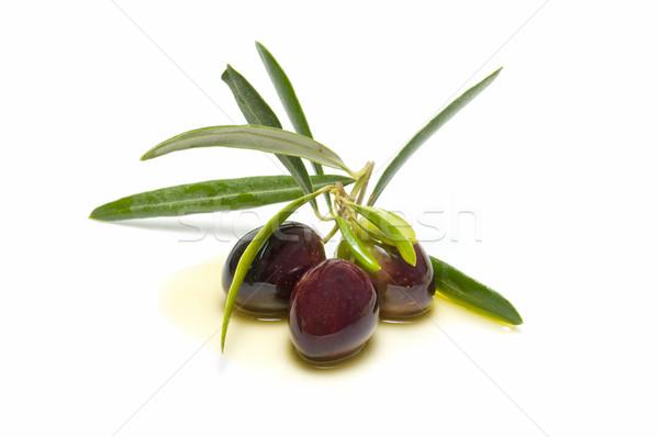 Foto stock: Oliva · ramo · três · azeitonas · branco · comida