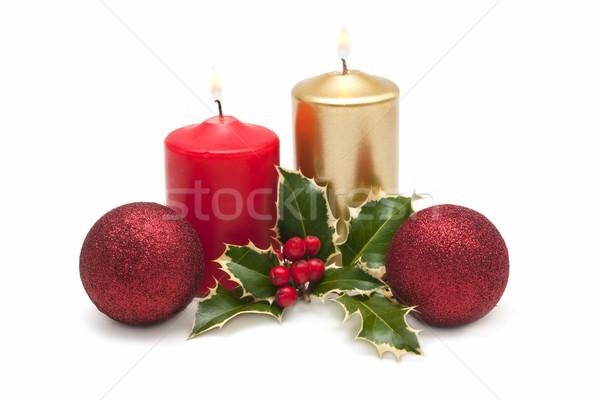 Christmas karty świece projektu zielone zimą Zdjęcia stock © luiscar