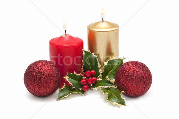 Natal cartões velas projeto verde inverno Foto stock © luiscar