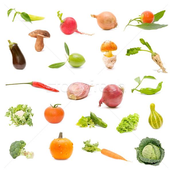 Warzyw kolekcja świeże warzywa biały marchew rolnictwa Zdjęcia stock © luiscar