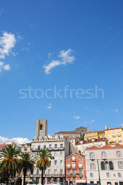 Cityscape of Lisbon city with Se Cathedral Stock photo © luissantos84