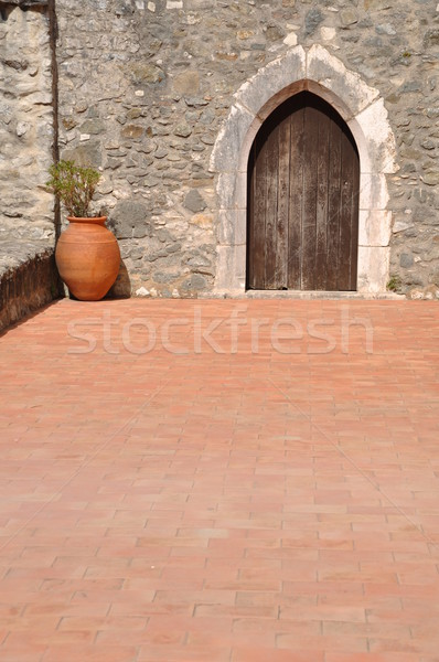 Kasteel terras mooie detail Portugal natuur Stockfoto © luissantos84
