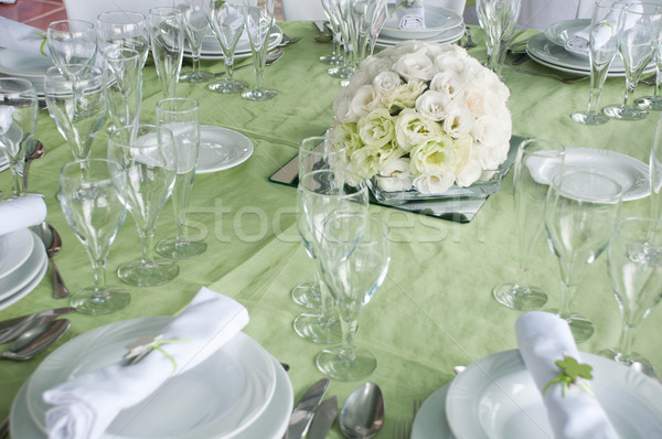 Esküvő asztal részlet szett fine dining virágok Stock fotó © luissantos84