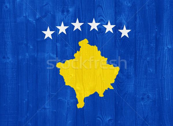 Kosovo bandiera magnifico verniciato legno Foto d'archivio © luissantos84