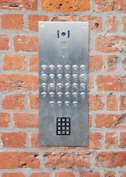 Sonnette accès code panneau mur de briques Photo stock © luissantos84