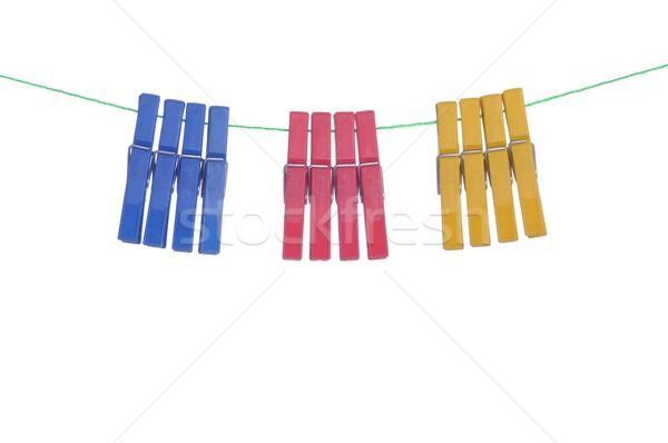 Stockfoto: Wasknijper · kleurrijk · opknoping · wassen · lijn · geïsoleerd