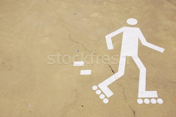 Zeichen weiß städtischen Park gelb Zement Stock foto © luissantos84