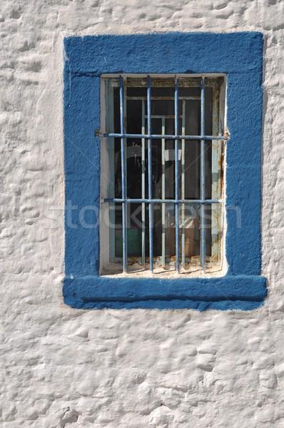 Foto stock: Grego · janela · azul · barras · a · casa · branca · Grécia