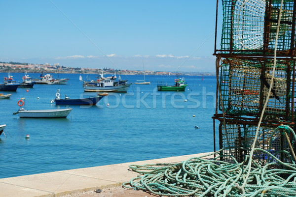 Stock photo: Old fishing equipment in the port of Cascais, Portugal