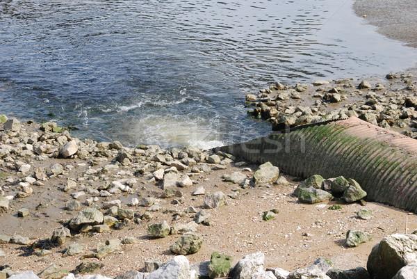 Szennyvíz koszos víz óceán nagy cső Stock fotó © luissantos84