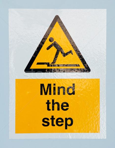 Mente passo segno cautela blu muro Foto d'archivio © luissantos84