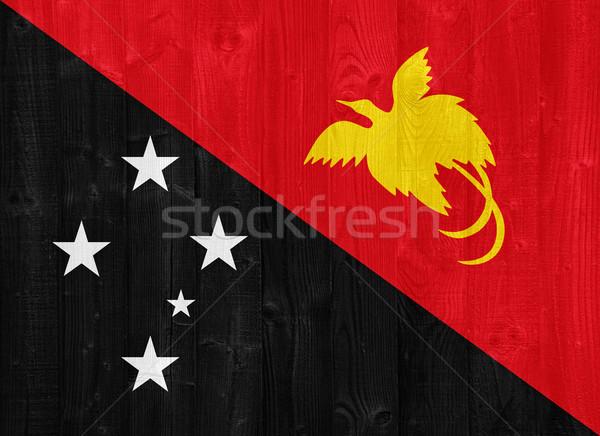 Папуа-Новая Гвинея флаг великолепный окрашенный древесины доска Сток-фото © luissantos84