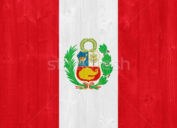 Peru vlag prachtig geschilderd hout plank Stockfoto © luissantos84