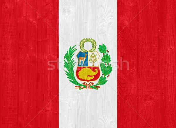Peru bayrak boyalı ahşap Stok fotoğraf © luissantos84