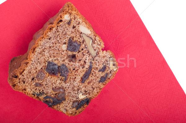 торт орехи изюм ломтик салфетку изолированный Сток-фото © luissantos84
