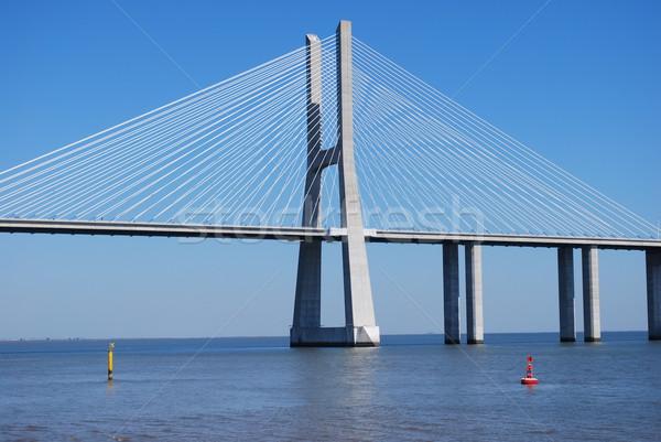 Vasco da Gama Bridge over River Tagus in Lisbon Stock photo © luissantos84