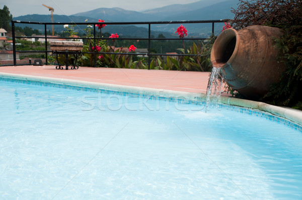 Pool Vase Kaskade schönen Schwimmbad Detail Stock foto © luissantos84