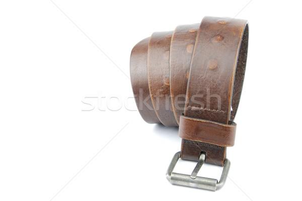 Dark brown leather belt on white Stock photo © luissantos84