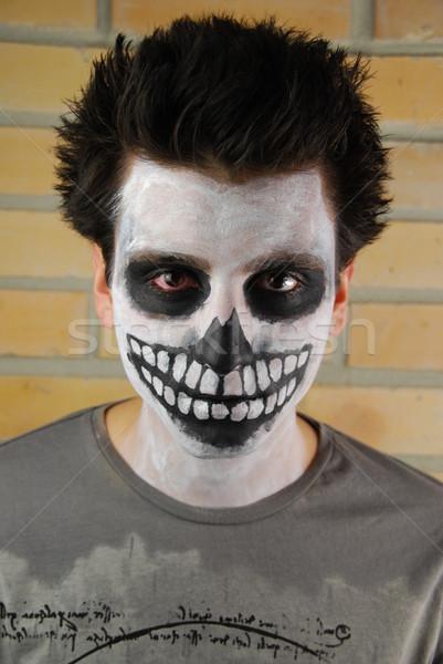 Portré hátborzongató csontváz fickó karnevál arc Stock fotó © luissantos84
