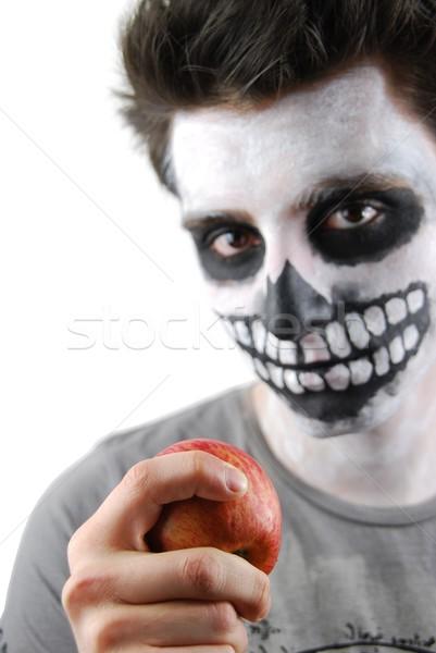 Yemek elma iskelet adam portre gıda Stok fotoğraf © luissantos84