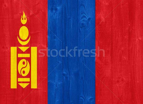 Mongólia bandeira pintado madeira Foto stock © luissantos84