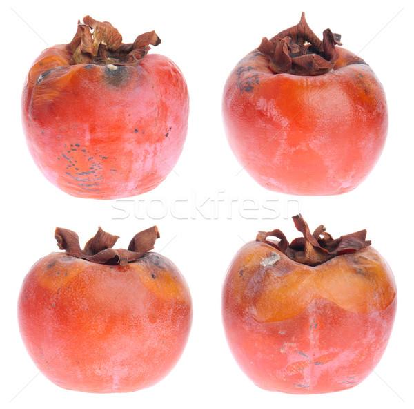 Foto stock: Podre · quatro · caqui · frutas · isolado · branco