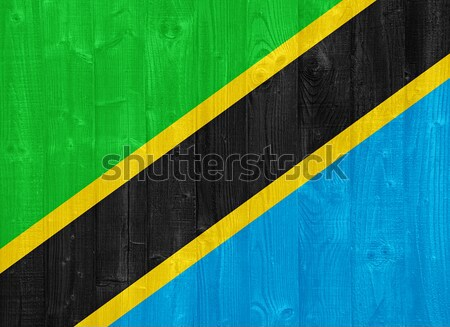 Tansania Flagge herrlich gemalt Holz Planke Stock foto © luissantos84