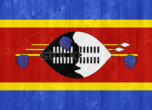 Suazi banderą przepiękny malowany drewna deska Zdjęcia stock © luissantos84