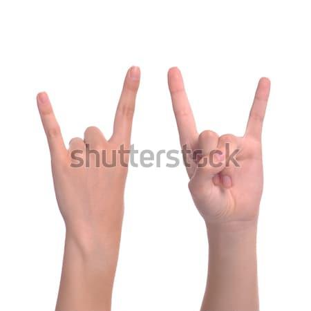 Stockfoto: Duivel · vrouw · hand · gebaar · geïsoleerd
