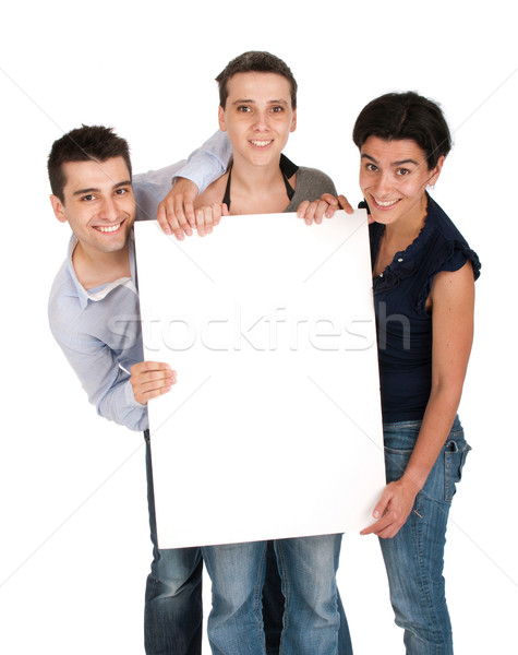 Brother and sisters holding banner Stock photo © luissantos84