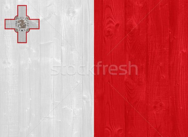 Malta vlag prachtig geschilderd hout plank Stockfoto © luissantos84