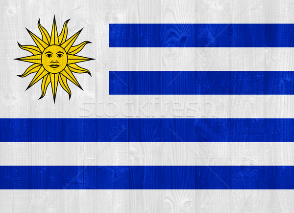 Uruguai bandeira pintado madeira Foto stock © luissantos84