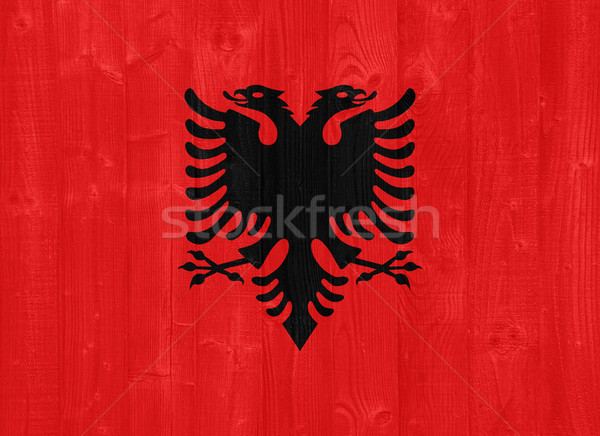 Албания флаг великолепный окрашенный древесины доска Сток-фото © luissantos84