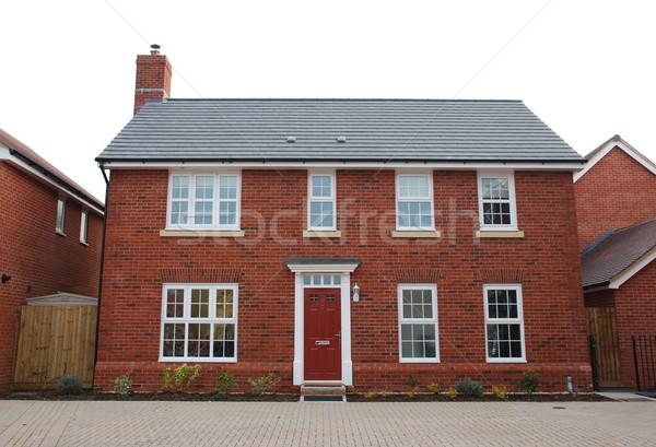 красный кирпичных дома типичный британский жилой Сток-фото © luissantos84
