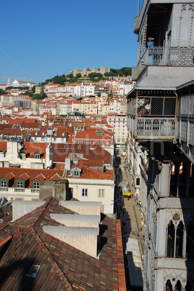 Lisbon cityscape with Castle and Santa Justa Elevator Stock photo © luissantos84
