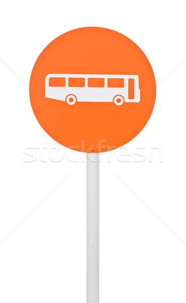 Parada de ônibus assinar laranja postar pólo isolado Foto stock © luissantos84