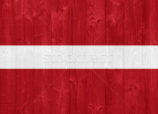 Letland vlag prachtig geschilderd hout plank Stockfoto © luissantos84