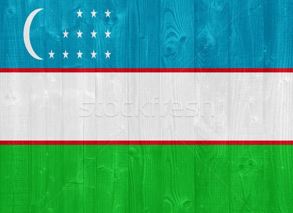 Узбекистан флаг великолепный окрашенный древесины доска Сток-фото © luissantos84