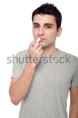 Férfi fogfájás fiatal lezser izolált fehér Stock fotó © luissantos84
