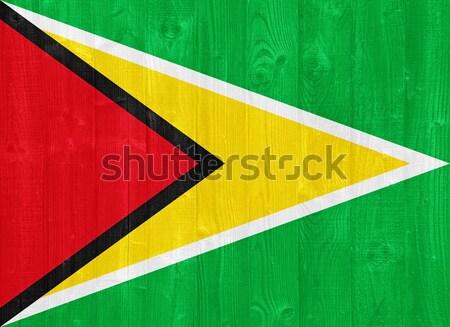 Guyana zászló káprázatos festett fa palánk Stock fotó © luissantos84