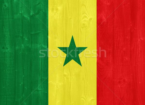 セネガル フラグ ゴージャス 描いた 木材 ストックフォト © luissantos84