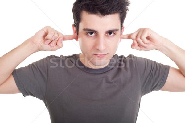 Nem jóképű fiatalember portré ujjak fül Stock fotó © luissantos84