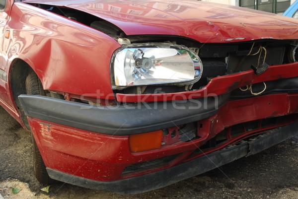 赤 車 フロント ガラス 壊れた ストックフォト © luissantos84