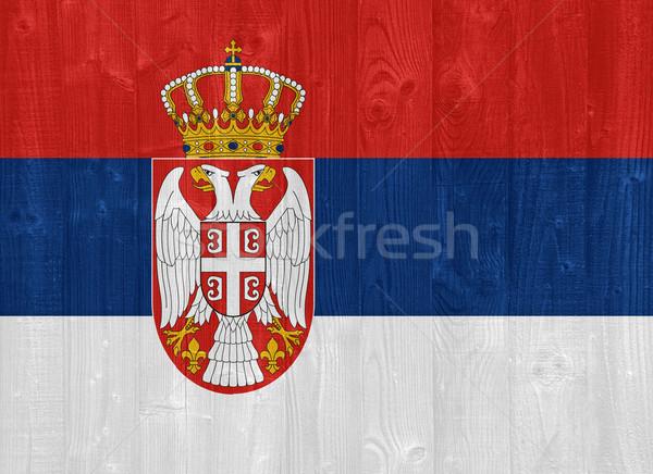 Sérvia bandeira pintado madeira Foto stock © luissantos84
