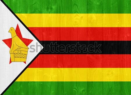Zimbabwe zászló káprázatos festett fa palánk Stock fotó © luissantos84