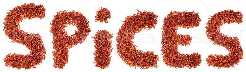 Spices written with chilli peppers Stock photo © luissantos84